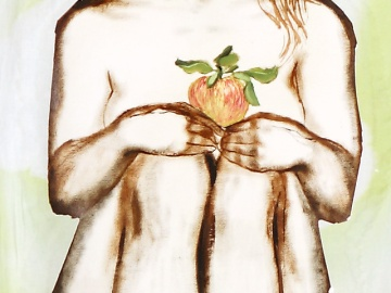"""Apple"" - DETAIL 2, oil on dyed canvas - 168 x 139 cm, 2008"