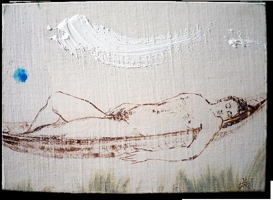 """Blue"", oil on canvas/wood - 16 x 22 cm, 2001"
