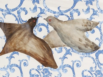 """Homing Pigeons"" - DETAIL 2, oil on canvas - 137 x 225 cm, 2008"