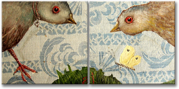 """Birds"", oil on canvas - 2 x 14 x 14 cm, 2013"
