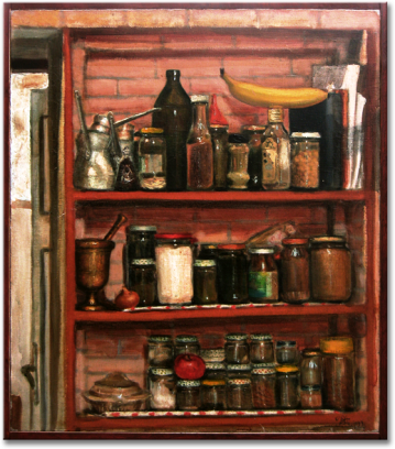 """Kitchen"", oil on canvas - 70 x 60 cm, 1999"